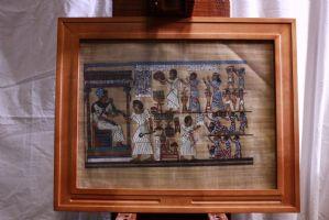 5 images / peintures mixtes médias sujet encadrée de verre ancien de style égyptien