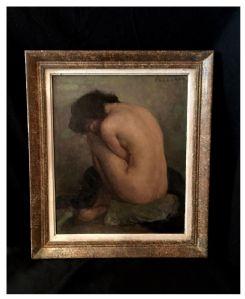 Nu Féminin signé Fougerat, huile sur panneau, XXe siècle