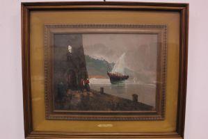 Peinture à l'huile sur toile signée Aldo Pironti encadrée deuxième moitié de « 900 peinture