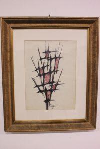 Nino peint Franchina '58 médias mixtes sur papier avec cadre et peinture sur verre