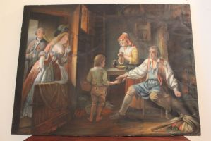 Pastel sur papier, scène d'intérieur, France, XIXe siècle