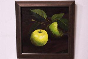 Photo peinture à l'huile sur toile peinte représentant l'huile de fruits sur toile signée
