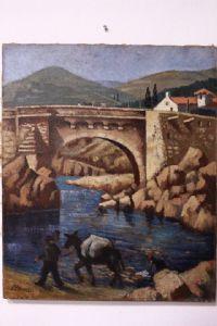 huile peint Image sur toile représentant la scène paysanne avec des sujets