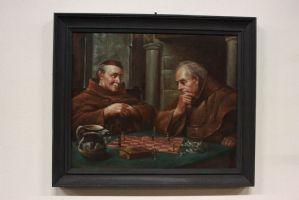 peinture à l'huile peinte sur toile représentant jeu d'échecs entre frères peinture à l'huile