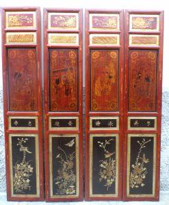 8 série de huit panneaux sculptés chinois, doré et peintures