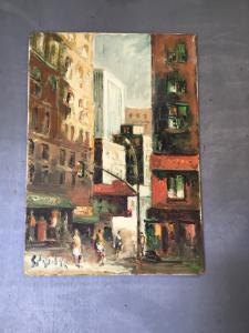 Peinture à l'huile sur toile signée Emanuele Cappello