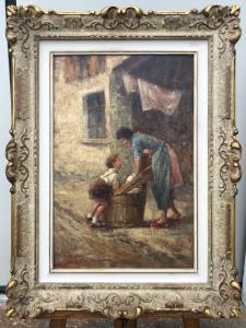 """Peinture à l'huile sur toile """"jeu d'enfant"""". Signé: Giovanni Bonfatti. Milan"""