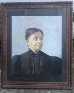 Peinture, tempera sur papier représentant une figure féminine Signature: V.Perazzo 1902.