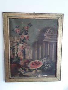Atelier de nature morte napolitaine Pietro Hair Napoli 1646 1734 H97x80 sans cadre 81x65 cadre sans garantie contemporaine termes de la loi