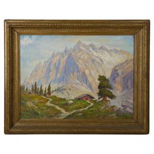 Dipinto con paesaggio in montagna - O/5151 -