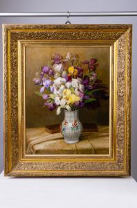 "Peinture ""iris"" huile sur toile - O / 4898"