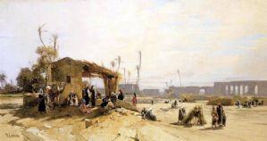 Hermann Corrodi - Voir avec un arrêt de Bedouins l'aqueduc romain à Tunis (Carthage)