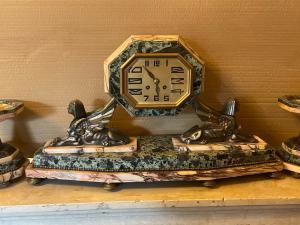Horloge triptyque en marbre déco plus 2 pampilles intactes
