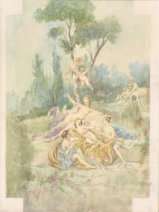 Aquarelle avec sujet du XVIIIe siècle, Aquarelle avec sujet du XVIIIe siècle