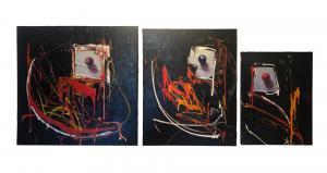 """""""Lo Spaccone"""" - Marco Tamburro - triptyque acrylique et décollage sur toile"""