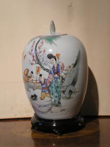 VASE POTICHE PORCELAINE ANTIQUE / GIARA - CHINE -