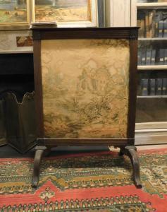 al202 - pare-étincelles avec cadre en bois et toile, cm l 71 xh 100