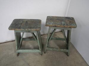 paire de tabourets en bois des années 60