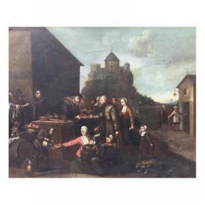 Peinture à l'huile flamande du 19ème siècle sur toile