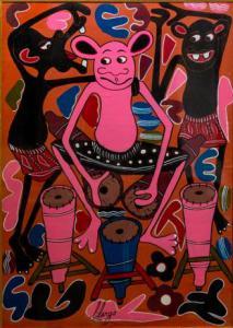 """""""Percussions"""" - Peinture à l'huile sur toile de George Lilanga, Peinture à l'huile sur toile de George Lilanga"""