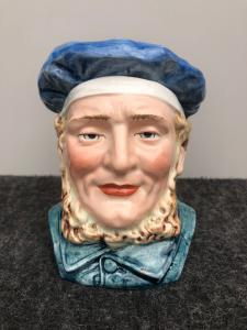 Tabatière en terre cuite représentant une tête d'homme avec basco.Francia