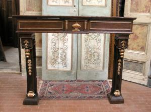 chl079 cheminée en noyer à décor doré Louis XVI mis.149 x 120 d.20