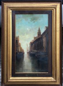 Peinture à l'huile sur toile représentant Hambourg Titre: classicisme.