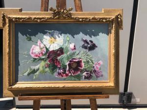 Peinture à l'huile sur toile représentant des fleurs.France.