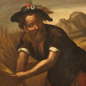 Ancien tableau italien personnage du 18ème siècle