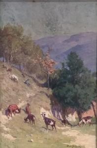 Paysage avec des chèvres