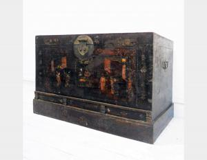Boite de Pékin en bois d'orme de Pékin antique Art 3352A