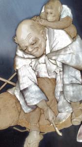 panneau avec incrustations en ivoire et nacre