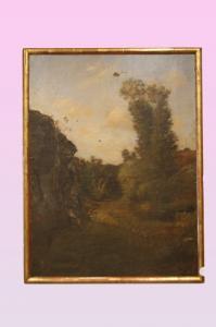 Olio su tela francese del 1800 firmato e datato 1883 Paesaggio campestre