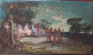 Dipinto scena L'Agora' autore non identificato