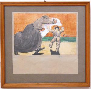 """Volterrani"" femme à l'aquarelle enfant - CA / 1072"