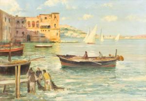 """""""Port de plaisance avec bateaux et pêcheurs"""" - huile sur toile C. Ferrari, Huile sur toile"""
