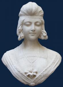 19ème siècle Buste de femme en marbre blanc, 42 cm de hauteur