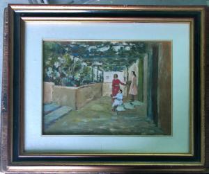 Peinture à l'huile sur bois avec personnages et véranda Signature: Arturo Tosi.