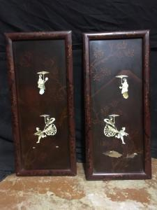 Paire de tableaux de décoration chinois