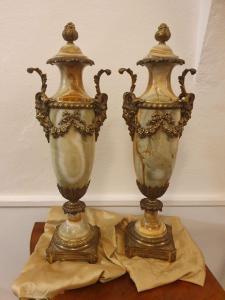 Coppia di vasi onice e bronzo dorato