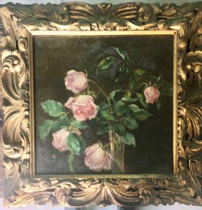 """Peinture à l'huile sur toile représentant un vase à fleurs. Forme C. Bolani """""""