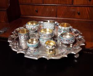 Précieuse collection d'émaux d'argent doré à décor cloisonné, Russie, fin du 19e siècle - début du 20e siècle