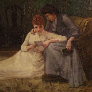 Ancien tableau anglais signé scène d'intérieur du 19ème siècle
