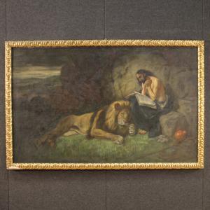 Tableau religieux italien Saint Jérôme avec lion