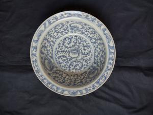 Belle vasque en porcelaine chinoise de l'époque Qing