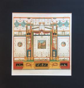 Scènes de Pompéi grotesque - Gravure gravée avec passe-partout - 19ème siècle - Italie