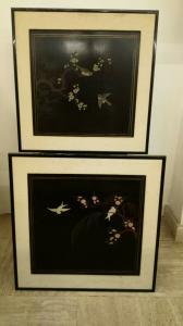 Tableaux Chinois, Paire de Tableaux Chinois, Art Oriental
