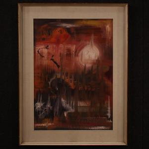 Tableau italien abstrait huile sur toile