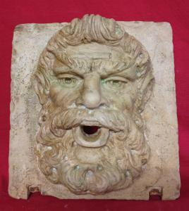 Mascherone/Bocca da Fontana - Volto di Filosofo - 30 x 32 cm - Marmo Trani - xx secolo - Venezia