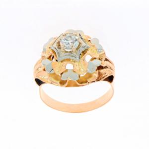 Anello in oro giallo con diamante solitario taglio antico